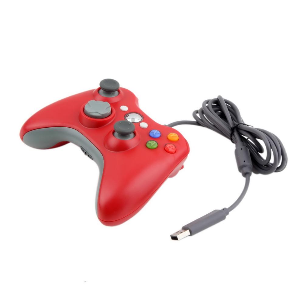 Джойстик проводной для Xbox 360 Controller Red красный