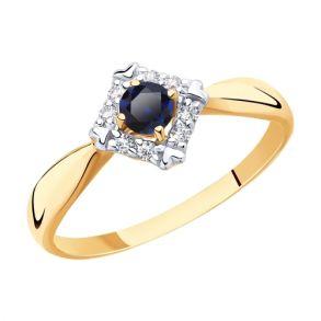Кольцо из золота с синими корундами и фианитами SOKOLOV 715425 золото 585