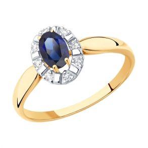 Кольцо из золота с синим корунд (синт.) и фианитами SOKOLOV 715447