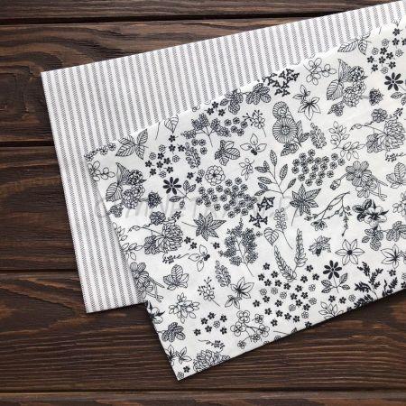 Ткань компаньоны монохром цветы + полоска