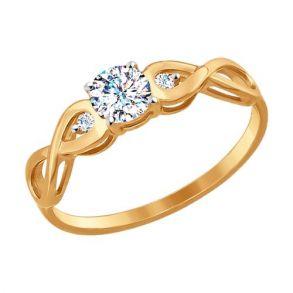 Помолвочное кольцо из золота с фианитами SOKOLOV 017154 золото 585