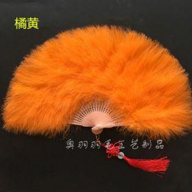 Веер с пухом большой оранжевый