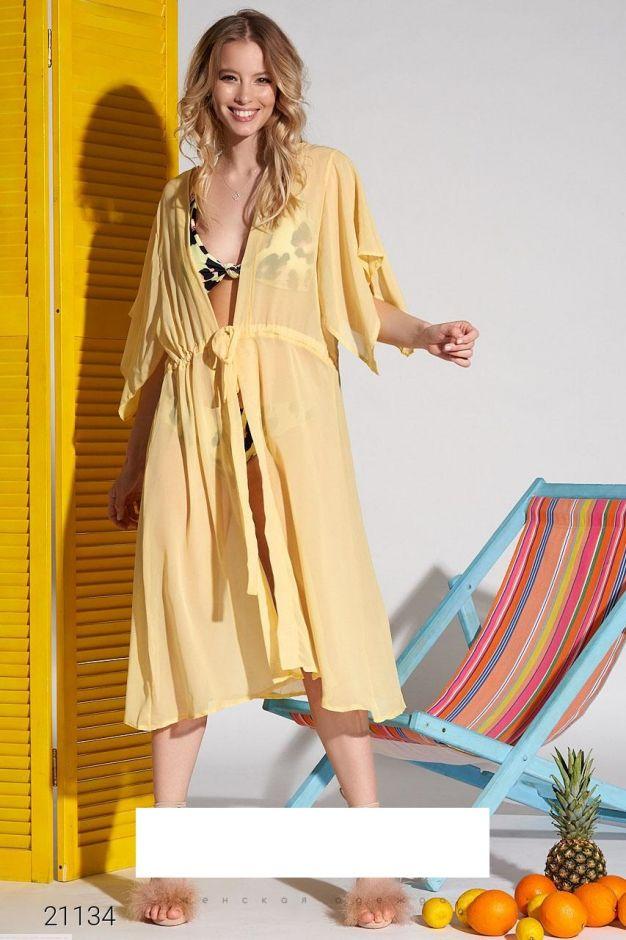 Пляжная накидка миди с рукавами-кимоно