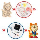 Набор для творчества - деревянные часы своими руками «Котенок», с красками