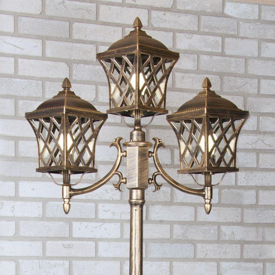 Уличный трехрожковый светильник на столбе Elektrostandard Cassiopeya F/3 черное золото