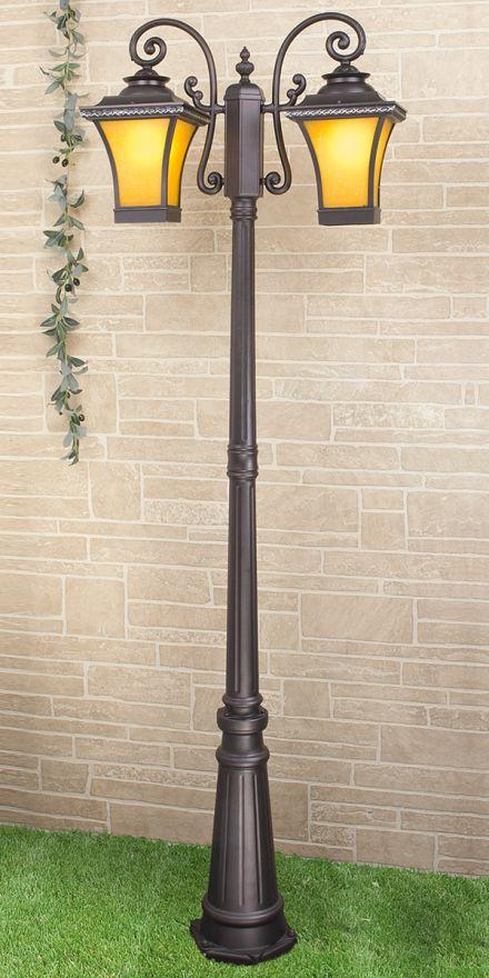 Уличный двухрожковый светильник на столбе Elektrostandard GLXT-1408F/2 Libra F/2 венге