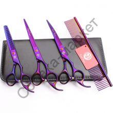 Набор грумера 7 дюймов ножницы 3 шт+гребень Purple Dragon с антистатическим покрытием