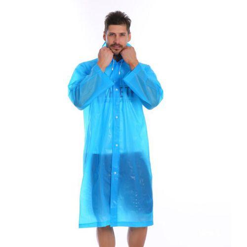 Виниловый плащ-дождевик для взрослых , голубой.