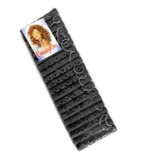 Резиновые бигуди-коклюшки 1х7 см, 20 шт, Цвет: Чёрный