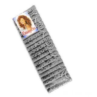 Резиновые бигуди-коклюшки 1х7 см, 20 шт, Цвет: Серый