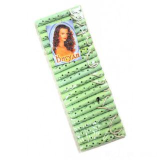 Резиновые бигуди-коклюшки 1х7 см, 20 шт, Цвет: Зелёный