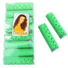 Резиновые бигуди-коклюшки 2х7,5 см, 10 шт, Цвет: Зелёный