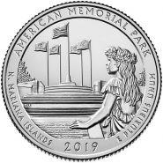 47 ПАРК США - 25 центов 2019 год, Американский мемориальный парк (American Memorial Park). Двор D
