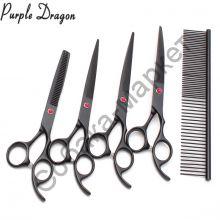 Набор грумера 7 дюймов ножницы 4 шт+гребень Purple Dragon
