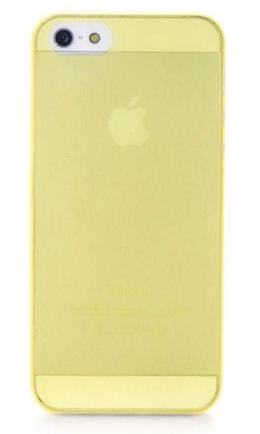 Чехол накладка Gurdini iPhone 5/5S/SE пластик ультратонкий 0.2 желтый