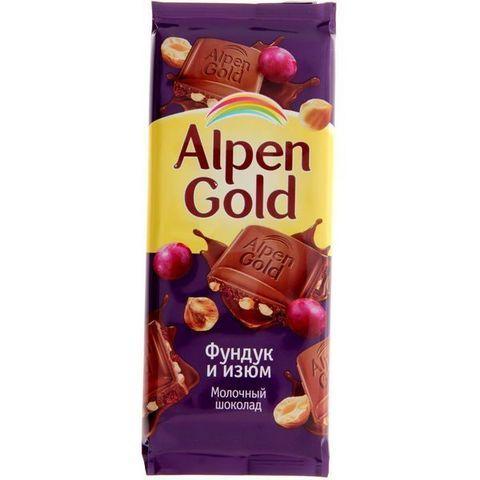 Шоколад Alpen Gold молоч/орех/изюм 90г