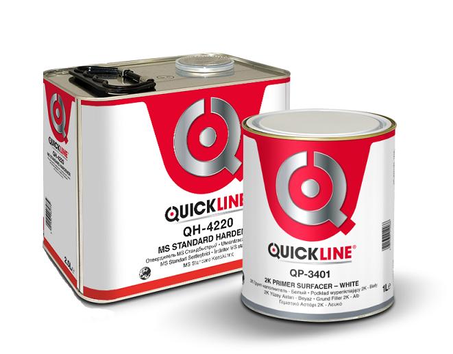 Quickline КОМПЛЕКТ 2К Грунт-наполнитель белый(G1)+Отвердитель MS стандартный, 1л. + 200мл.