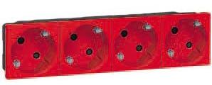 77274 Mosaic Розетка 4Х2к+З немецкий стандарт 45° красная Legrand