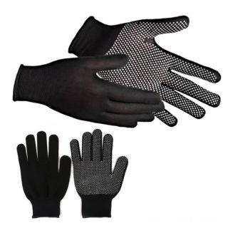 Нейлоновые перчатки с ПВХ точками, 12 пар, Цвет: Чёрный