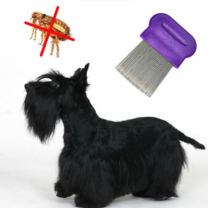 Гребешок для вычесывания блох у домашних животных, 8х6 см, цвет фиолетовый