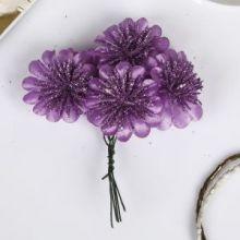"""Декор для творчества """"Хризантема"""" блеск фиолет (набор-букет 6 цветков) d=3,5 см 10 см"""