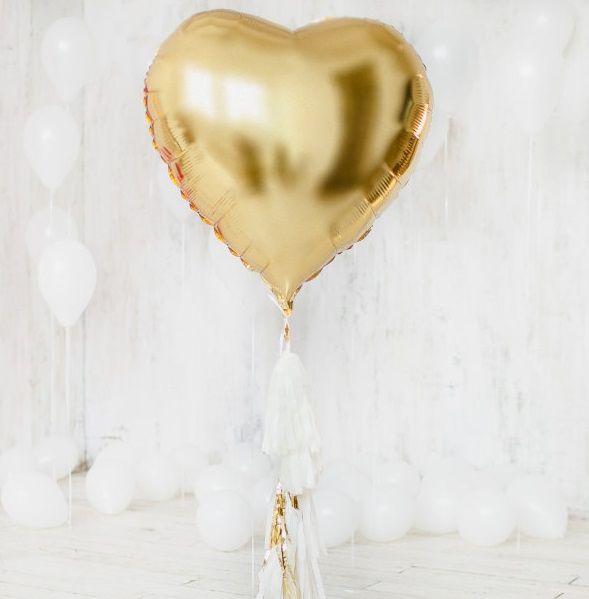 Шар сердце ЗОЛОТО фольга с гелием 86 см