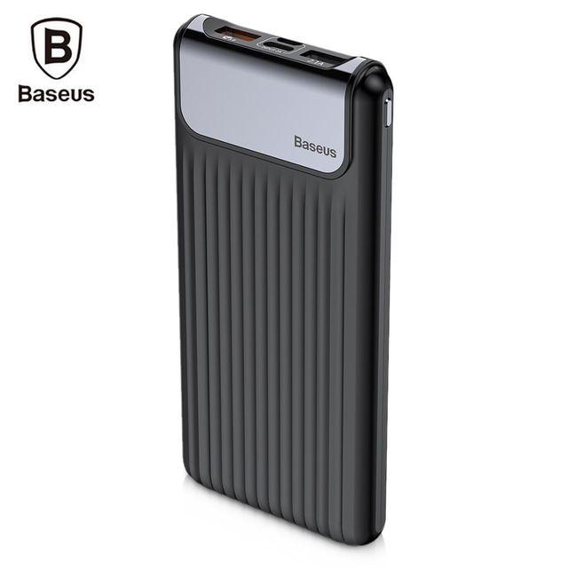 Внешний аккумулятор Baseus Thin QC3.0 M+T Daul input Digital display Power bank 10000mAh черный