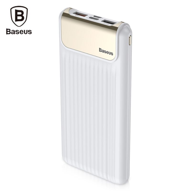 Внешний аккумулятор Baseus Thin QC3.0 M+T Daul input Digital display Power bank 10000mAh белый
