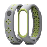 Силиконовый ремешок Mijobs для Xiaomi Mi Band 3 (Серый - Зеленый )