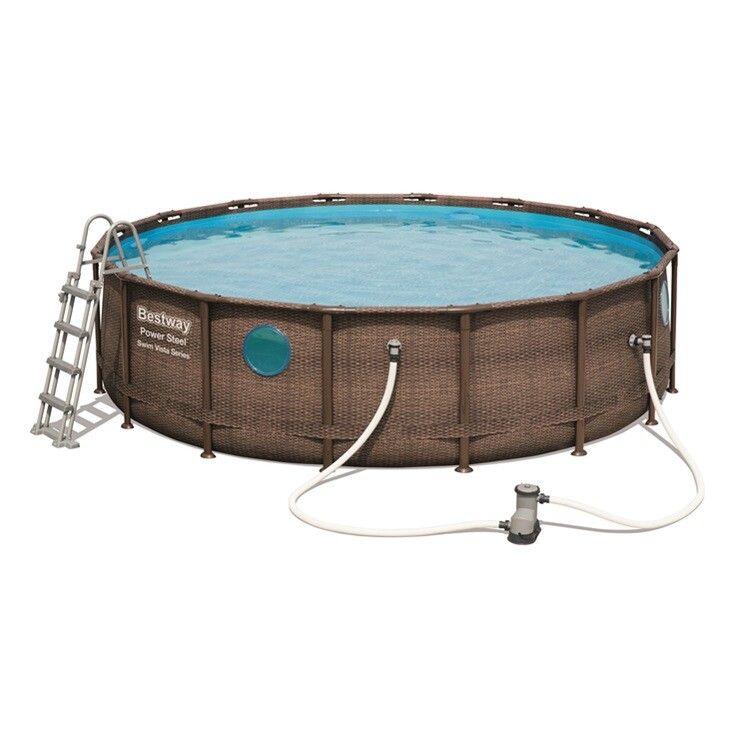 Каркасный бассейн Bestway Ротанг 56725 (488х122) с картриджным фильтром