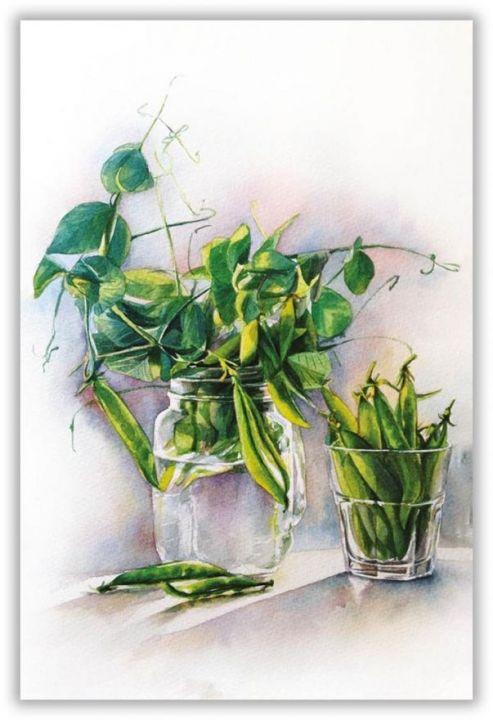Натюрморт с зеленым горошком