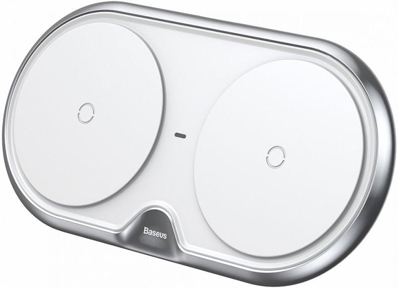 Беспроводная зарядка на два устройства Baseus Dual Wireless Charger пластиковая белая (WXSJK-02)