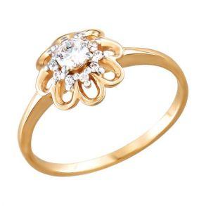 Помолвочное кольцо из золота с фианитами 015807 SOKOLOV