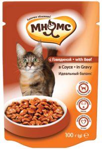 МНЯМС ПАУЧИ для взрослых кошек с говядиной 100 гр в соусе, идеальный баланс