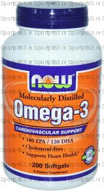 OMEGA-3 1000 МГ 200 КАПСУЛ (NOW)
