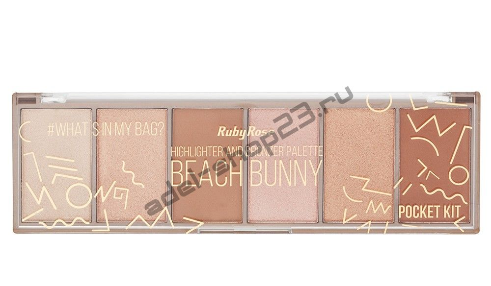 RUBY ROSE - Палетка хайлайтеров Beach Bunny Highlighter And Bronzer Palette НВ-7514