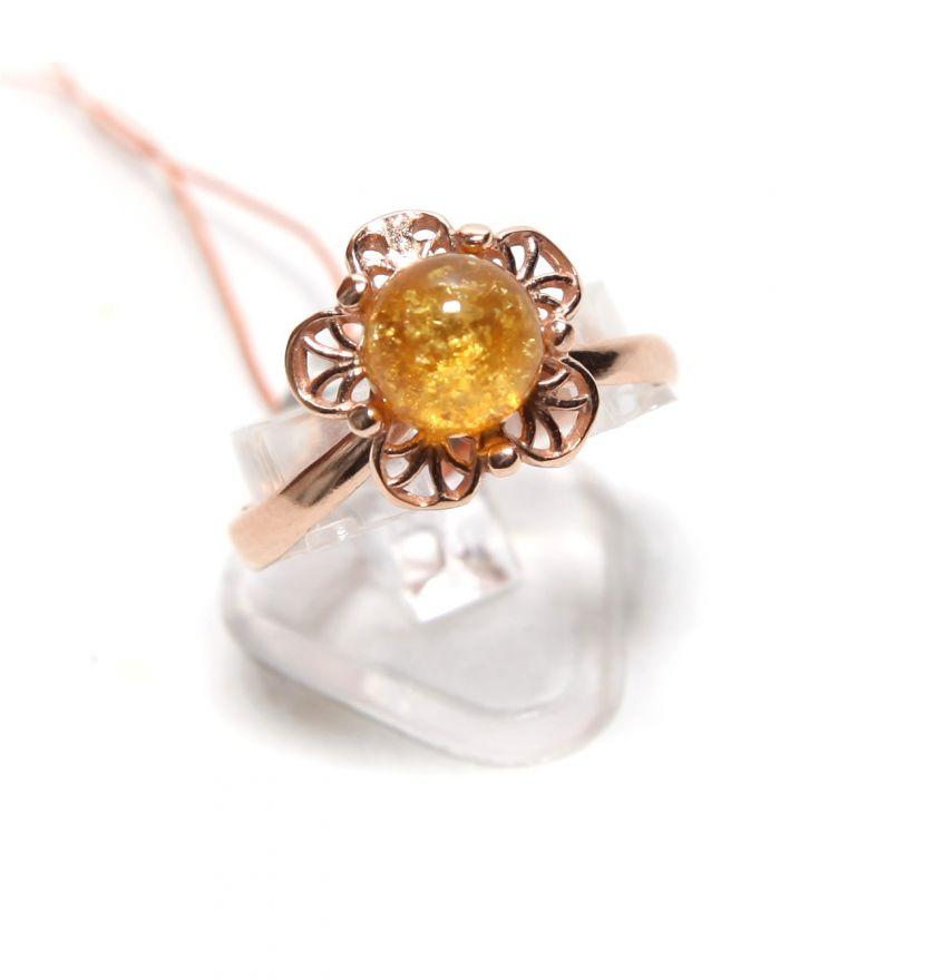 """Позолоченное кольцо с янтарем """"Ванесса"""""""