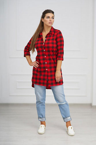 Туника-рубашка арт.0732-05 красная, кулирка