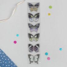 """Термоаппликация со стразами """"Бабочки"""", 5*5см, 5шт на листе, цвет ассорти"""