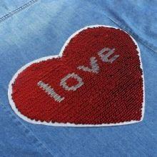 """Термоаппликация с пайетками """"Сердце love"""", двусторонняя, 21,5 х 18см, цвет красный/серебряный"""