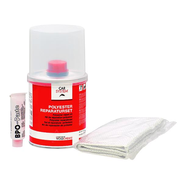 Carsystem Polyester Reparaturset - Набор для ремонта пластиков (полиэфирная смола с отвердителем + стеклоткань), 250гр.