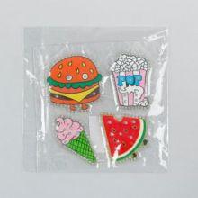 Термоаппликация со стразами «Арбуз, попкорн, бургер, мороженка», 5 ? 5 см, 4 шт. на листе, цвет МИКС