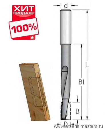 Фреза для выборки глубоких пазов под дверные и мебельные замки 14x25x81x130x12 WPW DT14002M ХИТ!