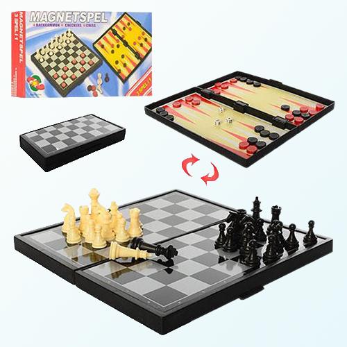 Настольная игра 3 в 1 Шахматы, Шашки, Нарды (магнитные)