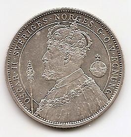 25 лет вступлению на престол Короля Оскара II  2 кроны Швеция 1897