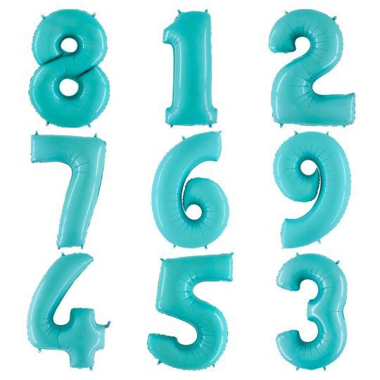 Цифра Голубая мята шар фольгированный с гелием
