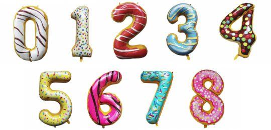 Цифра Пончик фольгированный шар с гелием