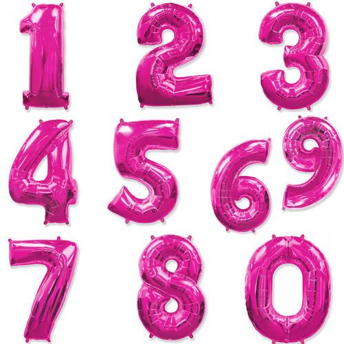 Цифры фуксия фольгированные шары с гелием