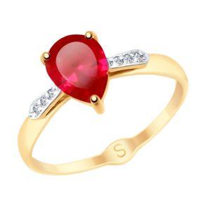 Кольцо из золота с красным корундом (синт.) и фианитами 715149 SOKOLOV