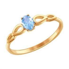 Кольцо из золота с голубым топазом 714590 SOKOLOV